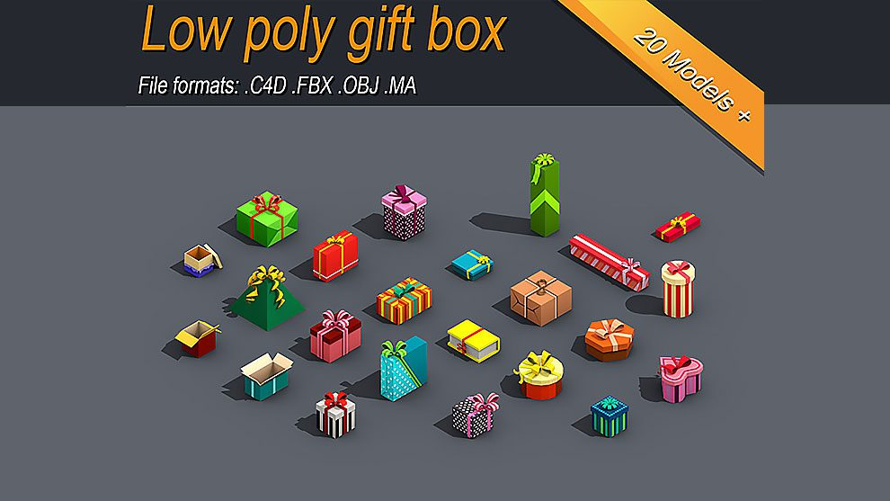 مجموعه مدل سه بعدی جعبه های هدیه Low Poly Gift Box