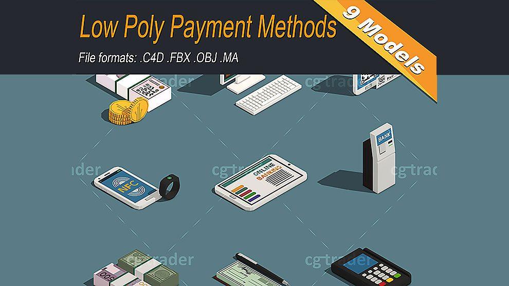 مجموعه مدل سه بعدی تجهیزات مالی ایزومتریک با استایل Low Poly