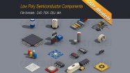 مجموعه مدل سه بعدی اجزای الکترونیکی ایزومتریک با استایل Low Poly