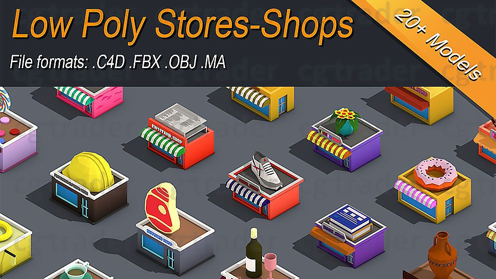 مجموعه مدل سه بعدی فروشگاه ایزومتریک با استایل Low Poly