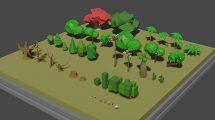 مجموعه مدل سه بعدی درخت Low Poly Tree Collection