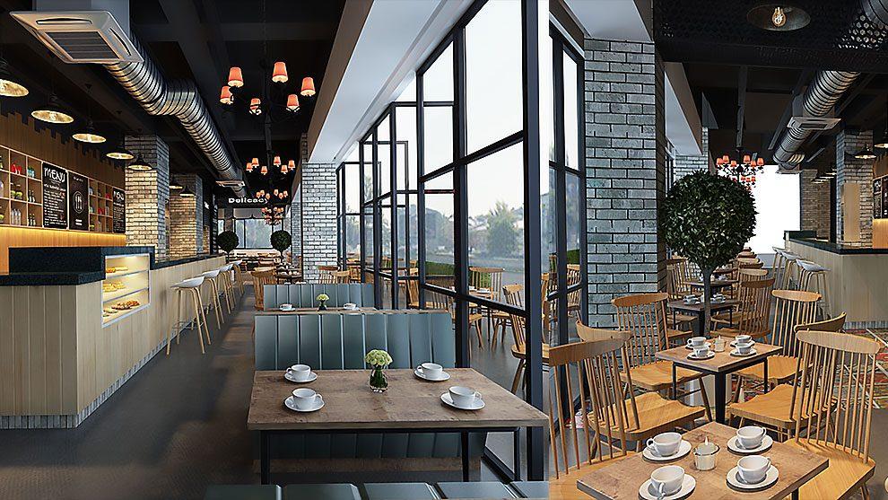 صحنه آماده سه بعدی رستوران مدرن Modern Restaurant