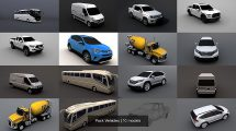 مجموعه مدل سه بعدی ماشین سواری و سنگین Pack Vehicles