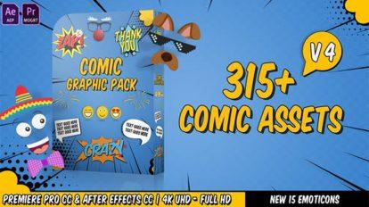 پروژه پریمیر اجزای گرافیکی به سبک کمیک Comic Titles Graphics Pack