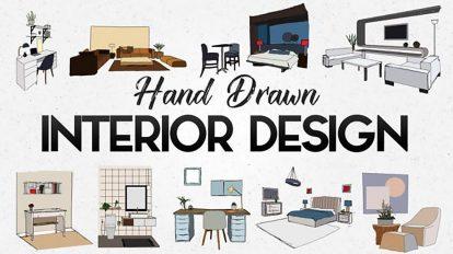 پروژه افترافکت مجموعه انیمیشن دستی طراحی Hand Drawn Interior
