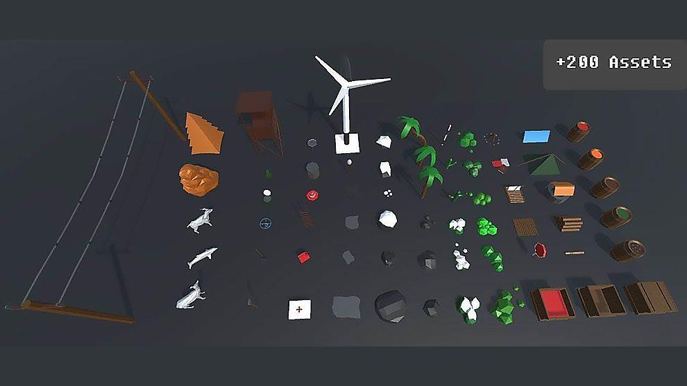 مجموعه مدل سه بعدی اجزای طبیعت Low Poly Pack