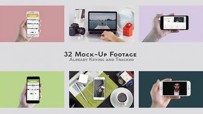 پروژه افترافکت مجموعه موکاپ واقعی موبایل و تبلت Mock-Up Real Footage