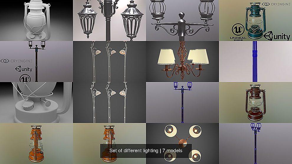 مجموعه مدل سه بعدی چراغ Set of Different Lighting