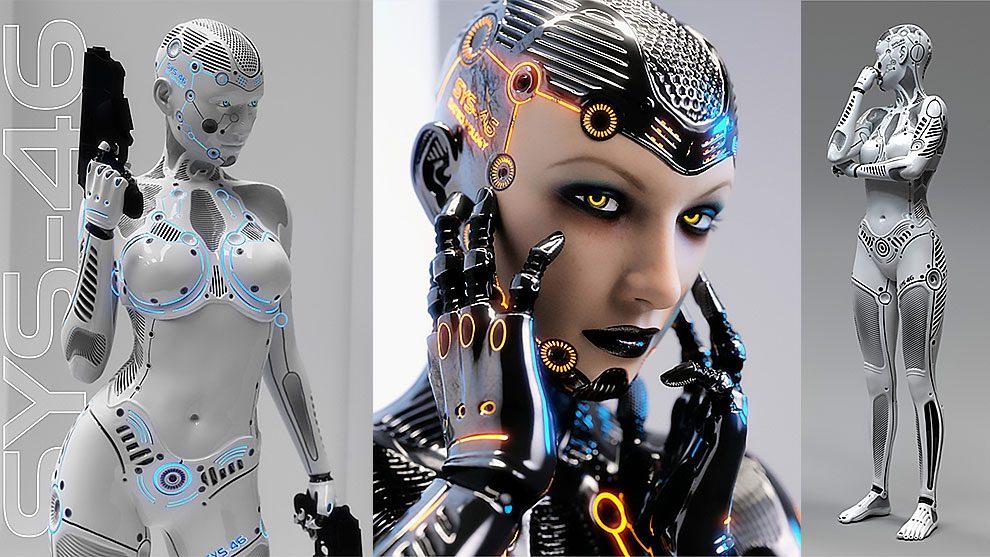 مدل سه بعدی زن سایبورگ System 46 for Genesis 3 Female
