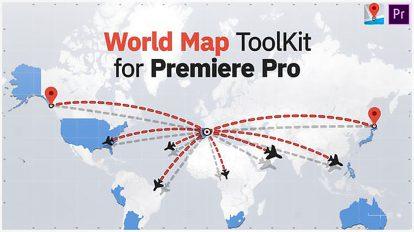 پروژه پریمیر مجموعه اجزای نقشه جهان World Map Toolkit