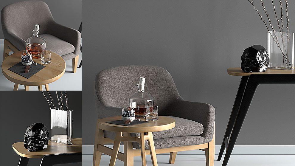 صحنه آماده سه بعدی با میز و صندلی BeInspiration 112