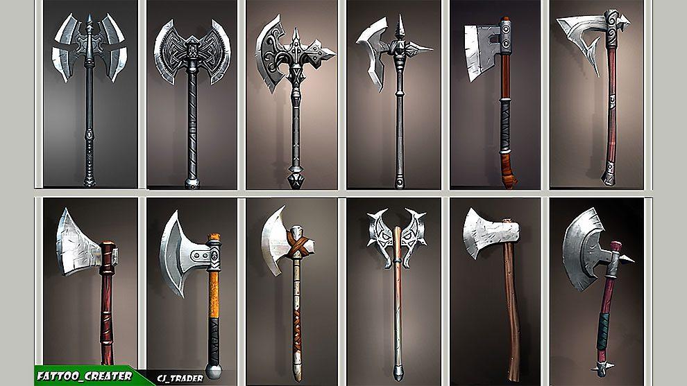 مجموعه مدل سه بعدی تبر Fantasy Axe Collection