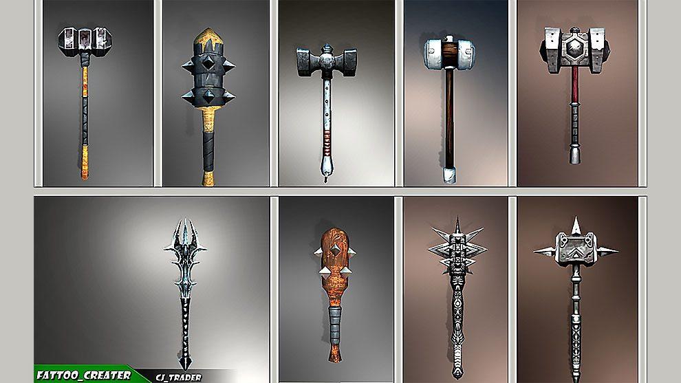 مجموعه مدل سه بعدی گرز و چکش Mace Hammer Collection Pack