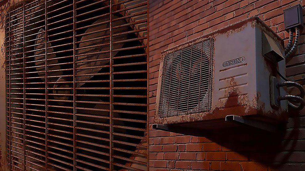 مدل سه بعدی واحد تهویه خارجی Rusted Outdoor Unit
