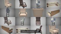 مجموعه مدل سه بعدی صندلی و مبلمان Set of Furniture Elements