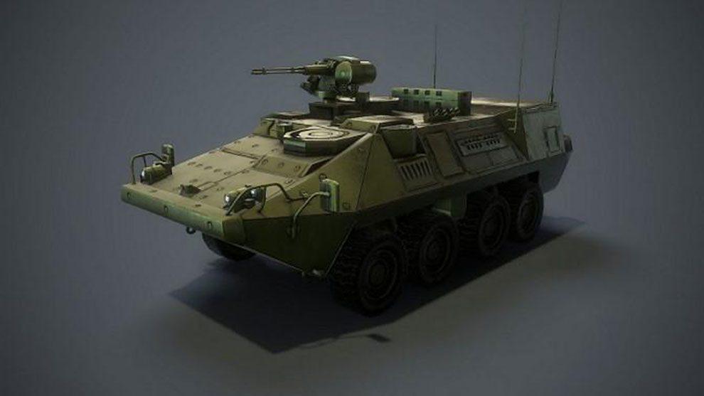 مدل سه بعدی تانک جنگی همراه با محیط داخلی Stryker MCV with Interior
