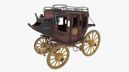 مدل سه بعدی کالسکه دوران غرب وحشی Wild West Stagecoach