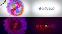 پروژه افترافکت نمایش لوگو با چرخنده دودی رنگی Blooming Particles Logo