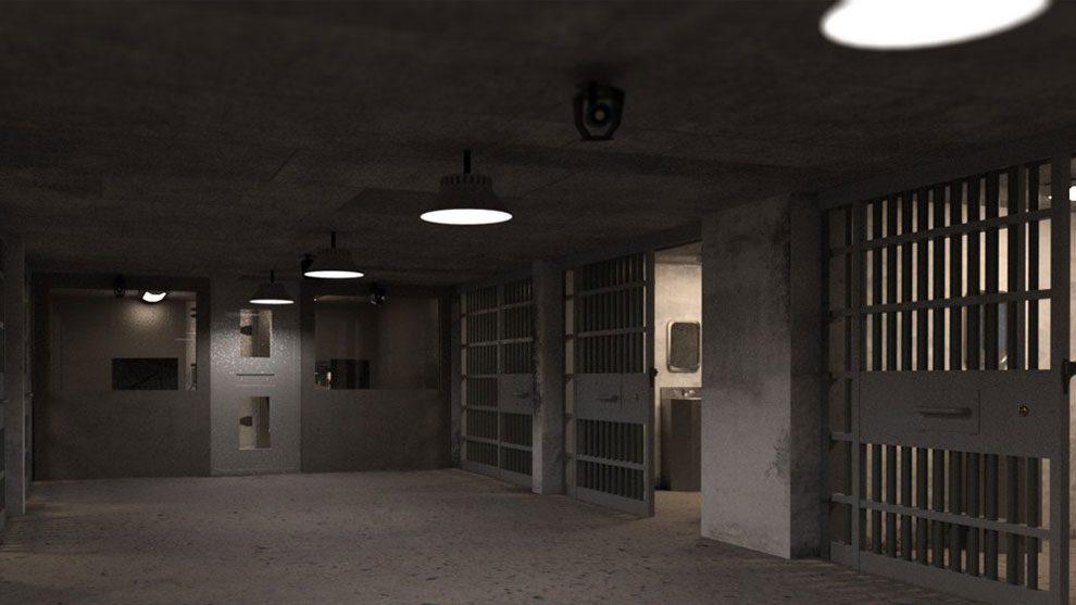 مدل سه بعدی سلول بازداشت و زندانی Empty Detention Cell