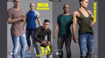 مجموعه مدل سه بعدی لباس ساده مردانه برای Daz3D Genesis 8