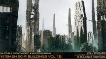 مجموعه مدل سه بعدی ساختمان های علمی تخیلی Kitbash Sci-fi Buildings Vol.1.5