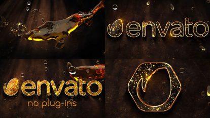 پروژه افترافکت نمایش لوگو با مایع طلایی Liquid Gold Logo