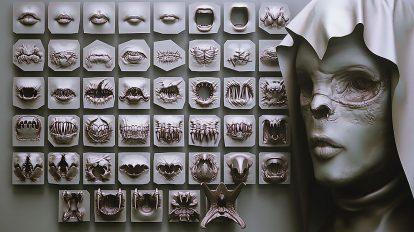 مجموعه 40 براش دهان برای زیبراش Mouth Zbrush VDM