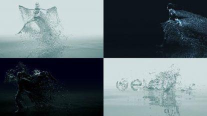 پروژه افترافکت نمایش لوگو با رقص آبی Organic Liquid Splash Logo