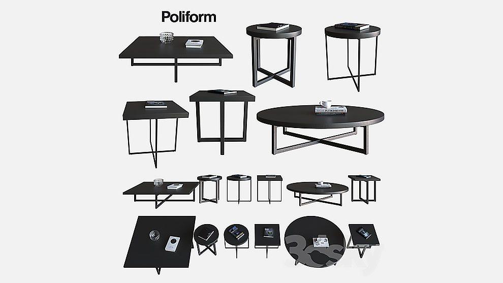 مجموعه مدل سه بعدی میز قهوه Poliform Coffee Tables