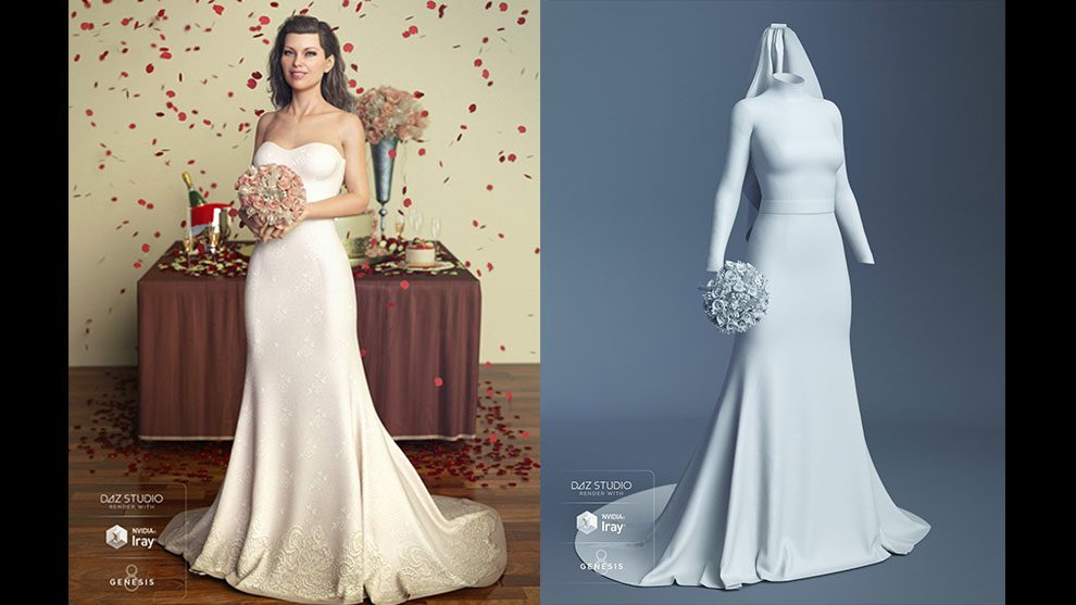 مجموعه مدل سه بعدی لباس عروس The Bride Wedding Gown for Genesis 8