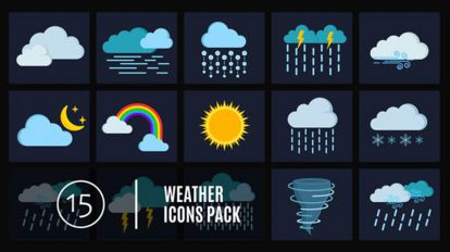 پروژه افترافکت مجموعه انیمیشن آیکون آب و هوا