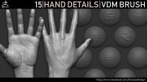 مجموعه براش جزییات دست برای زیبراش Zbrush Hand Details VDM