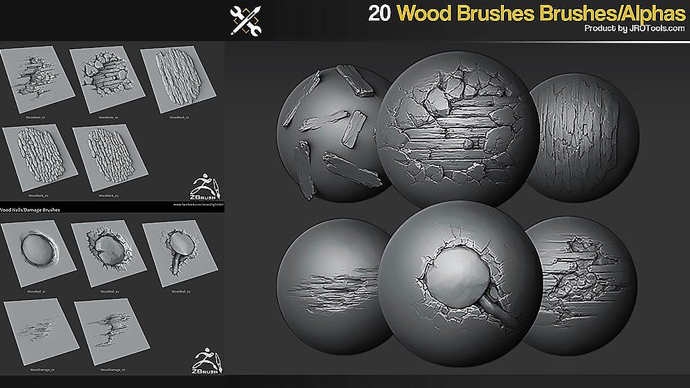 مجموعه 20 براش چوب برای زیبراش Zbrush Wood Brushes