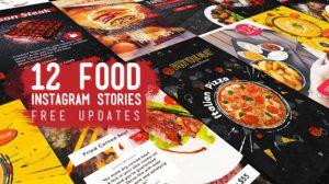 پروژه افترافکت مجموعه استوری اینستاگرام غذا Food Instagram Stories Pack