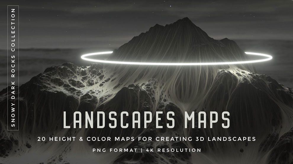 مجموعه جامع تکسچر مپ کوه و منظره Landscapes Maps