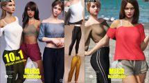 مجموعه مدل سه بعدی لباس ساده زنانه برای Daz3D Genesis 8