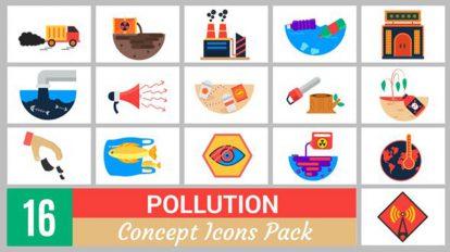 پروژه پریمیر مجموعه انیمیشن آیکون آلودگی Pollution Concept Icons Pack
