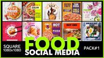 پروژه افترافکت مجموعه پست شبکه اجتماعی برای غذا Social Media Food