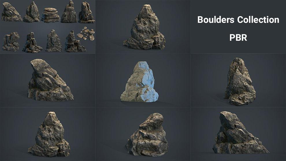 مجموعه مدل سه بعدی تخته سنگ Boulders Collection PBR