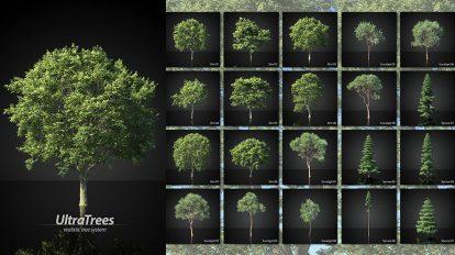 مجموعه مدل سه بعدی درخت UltraTrees Realistic Tree System