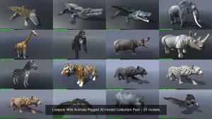 مجموعه مدل سه بعدی حیوانات Low Poly Wild Animals Collection Pack