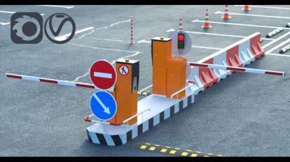 مجموعه مدل سه بعدی تجهیزات ترافیک شهری