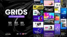 پروژه افترافکت تایپوگرافی شبکه اجتماعی Grids Social Media Scenes