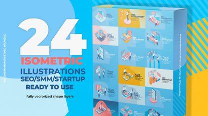 پروژه افترافکت مجموعه انیمیشن تبلیغاتی ایزومتریک Isometric Pack