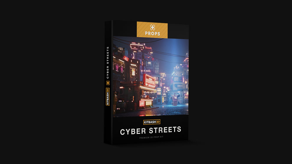 مجموعه مدل سه بعدی اجزای شهری سایبرپانک Kitbash3D Props Cyber Streets