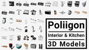 مجموعه مدل سه بعدی اجزای داخلی و آشپزخانه Poliigon Interior & Kitchen