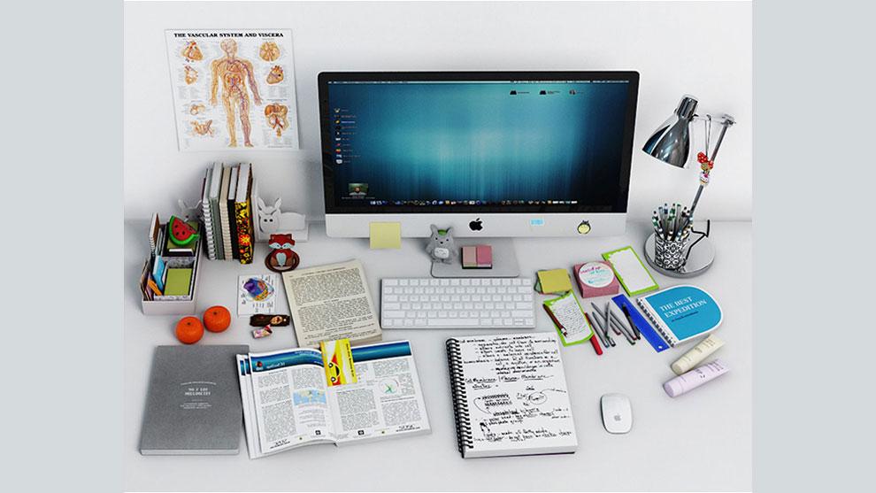 مجموعه مدل سه بعدی اجزای میز کار Desk Decoration 2
