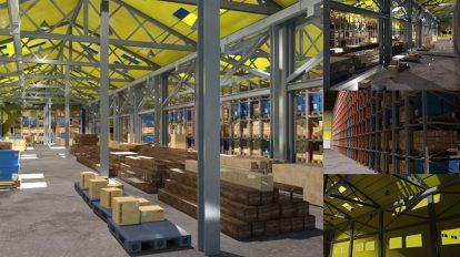 مدل سه بعدی انبار و سوله Warehouse Complex building
