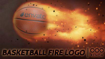 پروژه افترافکت نمایش لوگو آتشین با توپ بسکتبال Basketball Fire Logo
