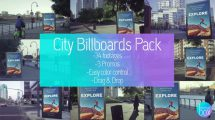 پروژه افترافکت موکاپ بیلبورد شهر Billboards City Mockup Pack